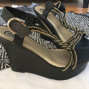 Candies black faux leather wedge sandals